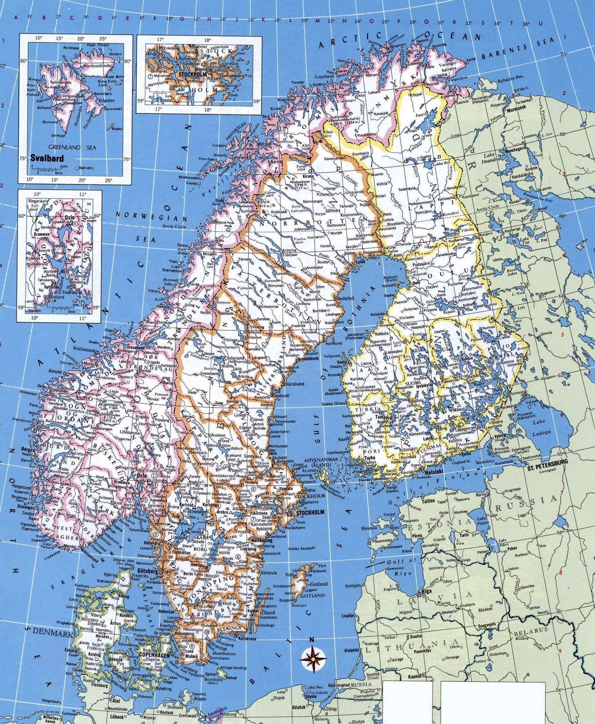 Karte Norwegen Drucken.Detaillierte Karte Von Norwegen Detaillierte Karte Von