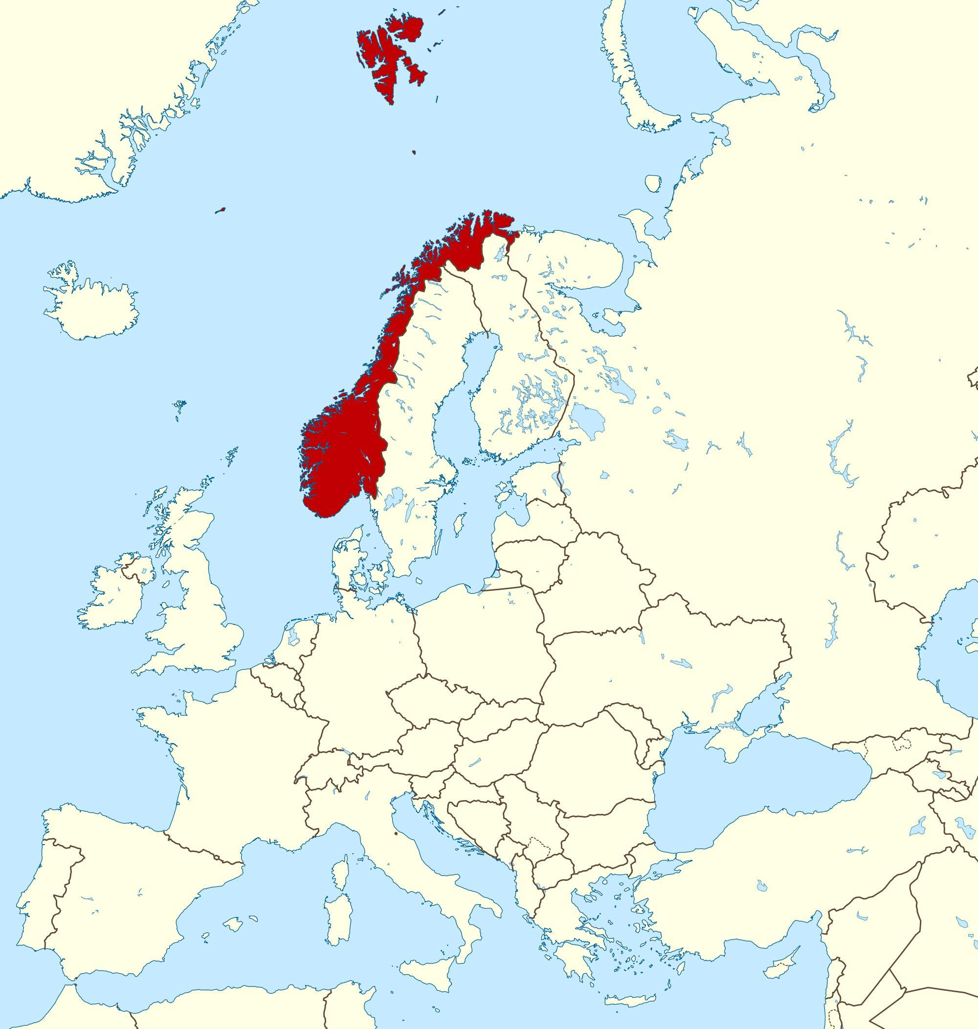 Europakarte Nordeuropa Karte.Norwegen Landkarte Von Europa Karte Von Norwegen Und Europa