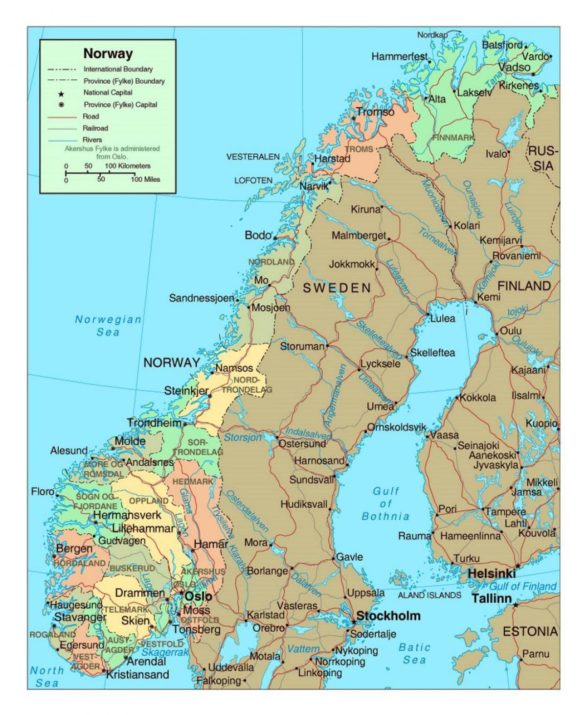 Karte Von Europa Mit Städten.Norwegen Städte Karte Landkarte Von Norwegen Mit Städten Europa