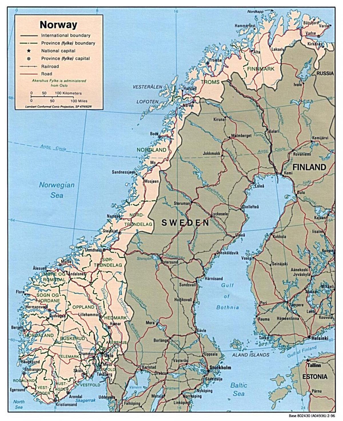 Karte Norwegen Mit Polarkreis.Norwegen Straßen Karte Fahr Karte Von Norwegen Nordeuropa Europa